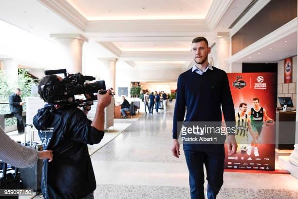 Martynas Sajus #19 of Zalgiris Kaunas during the Zalgiris Kaunas Arrival to participate of 2018 Turkish Airlines EuroLeague F4 at Hyatt Regency Hotel...