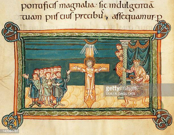 Martyrdom of Saint Andrew, miniature from Liber Sacramentorum , Latin manuscript 1 folio 42 verso, 10th Century.