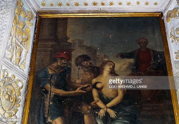 Martyrdom of St Agatha painting Basilica of St Catherine of Alexandria before its restoration Galatina Apulia