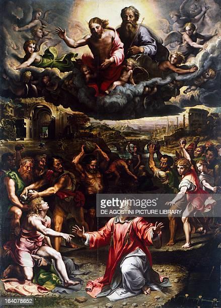 Martyrdom of St Stephen, ca 1521, by Giulio Romano , oil on canvas, 288x403 cm, Church of Santo Stefano, Genoa, Italy.