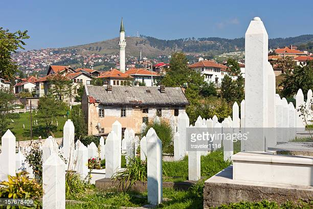martyr's memorial cemetery kovaci in sarajevo - serbia and montenegro stock photos and pictures