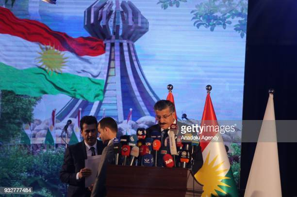 Martyrs Minister Mahmud Haci Salih makes a speech during a commemoration ceremony that organized due to 30th anniversary of Halabja Massacre and its...