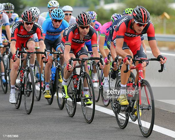 Marucs Burghardt of Germany and the BMC Racing team leads team mate Cadel Evans during stage one of the 2013 Tour de France a 213KM road stage from...