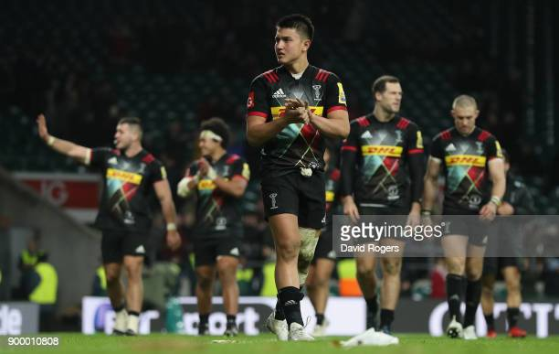 Marucs Smith of Harlequins leads the team on the lap of honour after their victory during the Aviva Premiership Big Game 10 match between Harlequins...