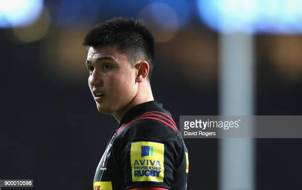 Marucs Smith of Harlequins looks on during the Aviva Premiership Big Game 10 match between Harlequins and Northampton Saints at Twickenham Stadium on...