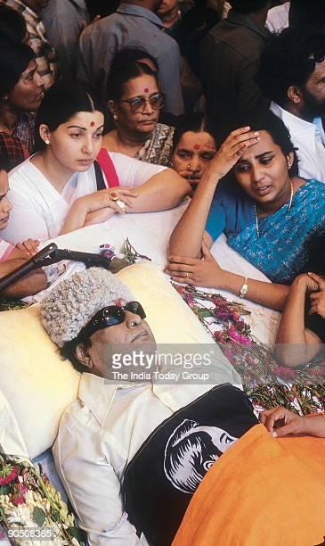 Marudur Gopalamenon Ramachandran Dead Body of former Chief Minister of Tamil nadu India