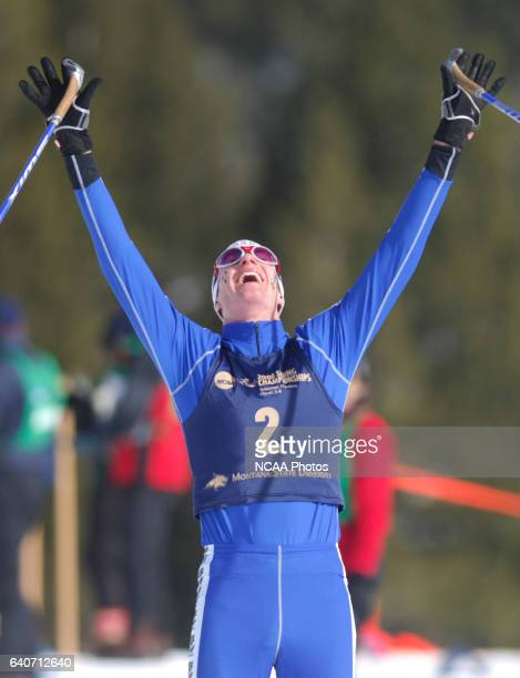 Maruis Korthauer of the University of Alaska Fairbanks celebrates after winning the Men's 20k classic as part of the Men's and Women's Skiing...