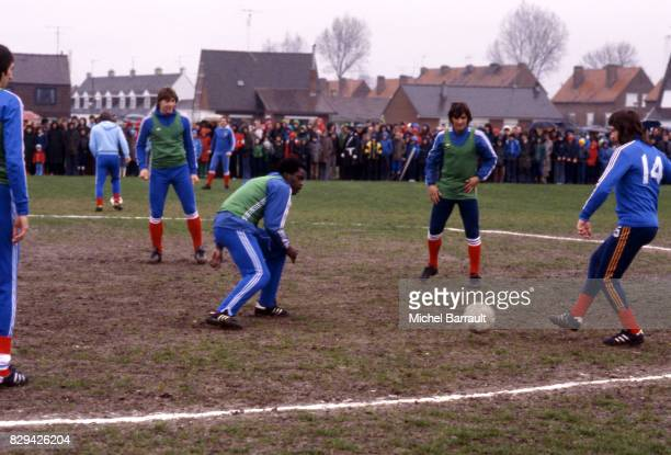 Maruis Tresor Henri Michel and Dominique Bathenay during the stage of Team France at Le Touquet before the World Cup 1978 on 30th April 1978