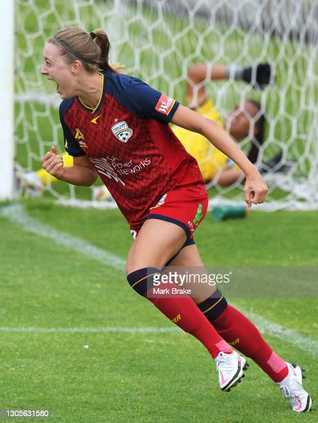 Maruschka Waldus of Adelaide United celebrates after scoring her teams first goal during the round 11 W-League match between Adelaide United and...