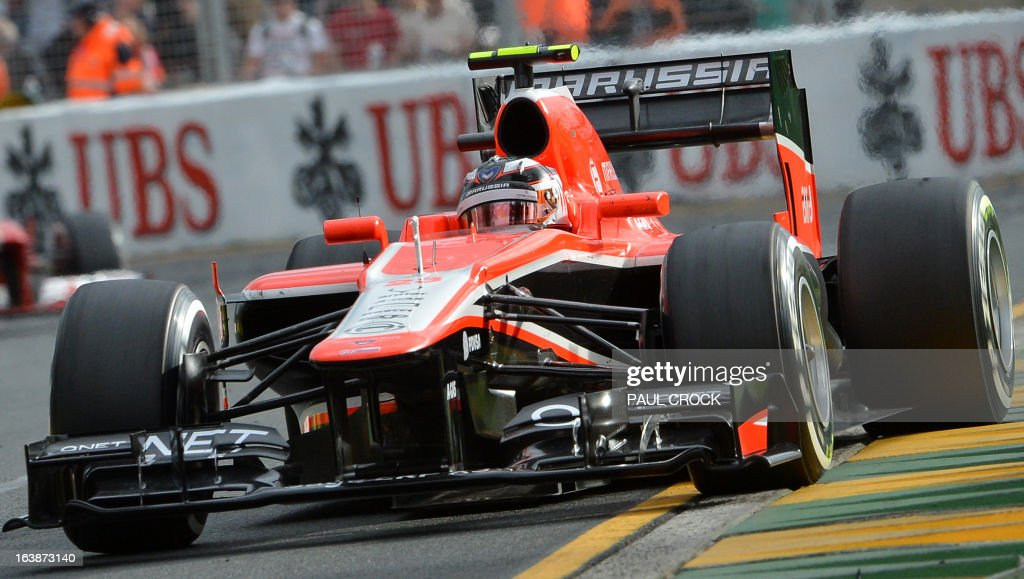 Marussia driver Max Chilton of Britain races through a corner during the Formula One Australian Grand Prix in Melbourne on March 17, 2013. IMAGE RESTRICTED TO EDITORIAL USE - STRICTLY NO COMMERCIAL USE AFP PHOTO / Paul CROCK