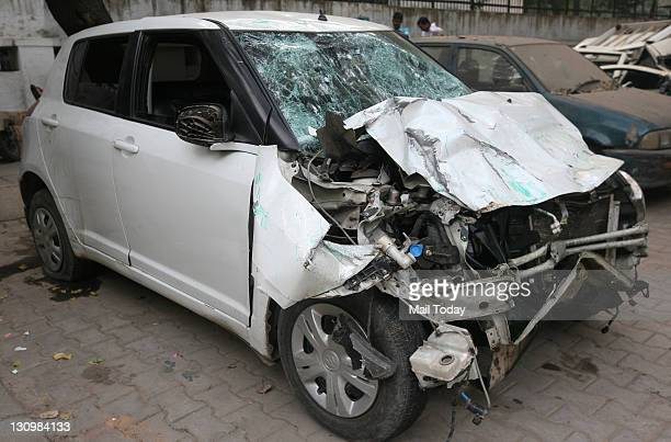 Maruti Swift car which hit a Mini tempo near Pragati maidan resulting in the death of tempo driver and injuring six others