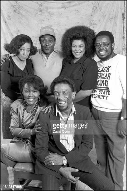 Marva Whitney, Alfred 'Pee Wee' Ellis, Lyn Collins, Fred Wesley; front row Vicki Anderson and Bobby Byrd at the Grafton Hotel, London, UK on 16 July...