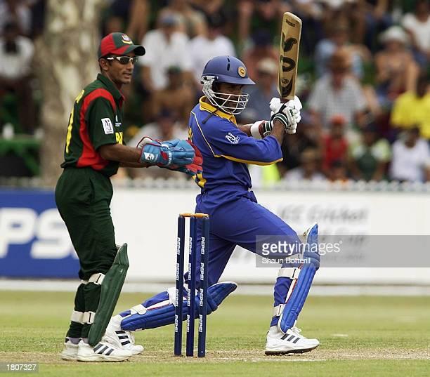Marvan Atapattu of Sri Lanka hits out during the ICC Cricket World Cup 2003 Pool B match between Sri Lanka and Bangladesh held on February 14 2003 at...