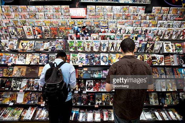 Marvel comic books sit on display at Midtown Comics in New York US on Monday Aug 31 2009 Walt Disney Co said it agreed to buy Marvel Entertainment...