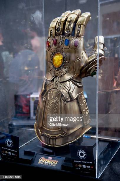 Marvel Comics infinity Glove from Avengers seen during London Film and Comic Con 2019 at Olympia London on July 28 2019 in London England