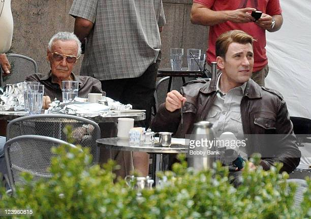 Marvel Comics publisher Stan Lee and Chris Evans films on location for Avengers on September 3 2011 on the streets of Manhattan in New York City