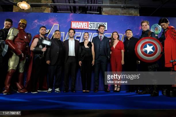 Marvel fans join Joe Russo Paul Rudd Scarlett Johansson Chris Hemsworth Trinh Tran and Anthony Russo during the Avengers Endgame UK Fan Event at...