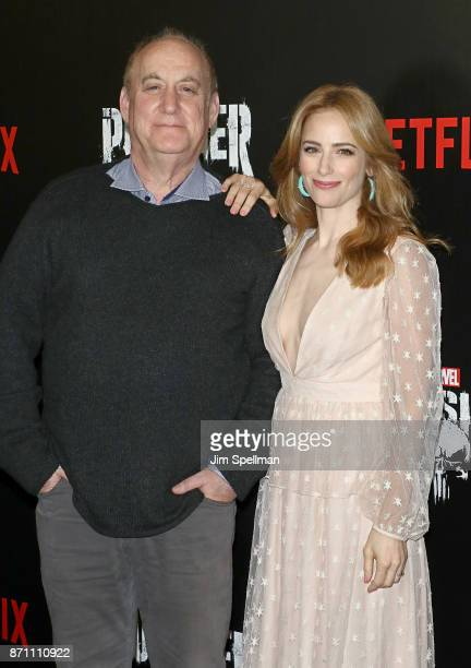 Marvel head of television Jeph Loeb and actress Jaime Ray Newman attends the 'Marvel's The Punisher' New York premiere at AMC Loews 34th Street 14...