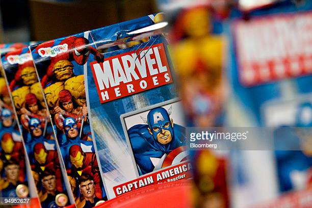 Marvel Heroes frisbee sits on display at Midtown Comics in New York US on Monday Aug 31 2009 Walt Disney Co said it agreed to buy Marvel...