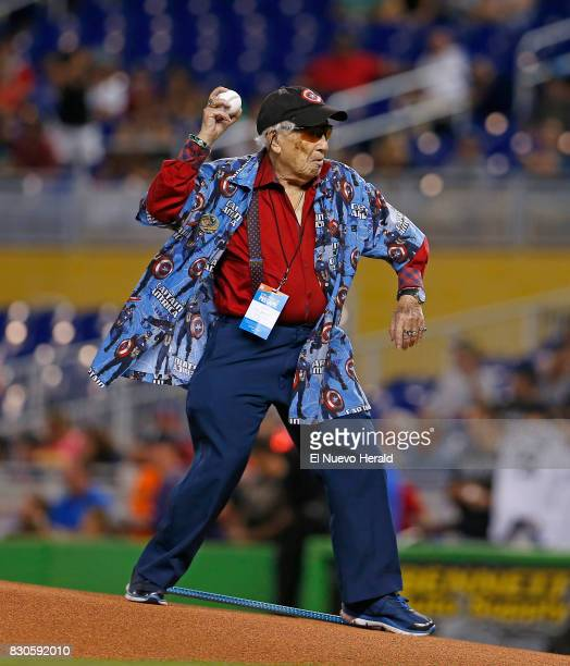 Marvel legend and artist Allen Bellman throws the ceremonial first pitch as the Miami Marlins play host to the Colorado Rockies while celebrating...