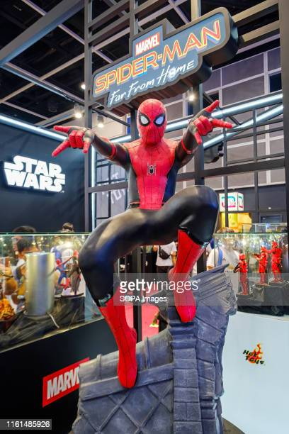 Marvel movie backdrop display with Spider-man replica at the Ani-Com & Games HK Exhibition event in Hong Kong. ACGHK is the perfect platform for...
