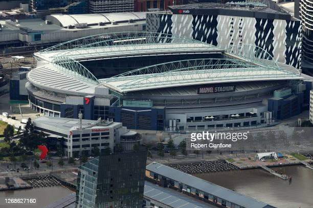 Marvel Stadium is seen on August 26, 2020 in Melbourne, Australia. Melbourne is in stage four lockdown for six weeks until September 13 after...