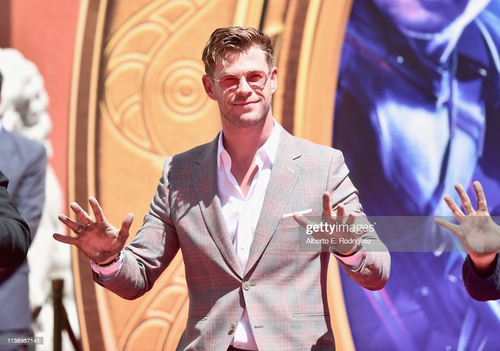 """Marvel Studios' """"Avengers: Endgame"""" Stars Place Handprints In Cement At TCL Chinese Theatre : News Photo"""