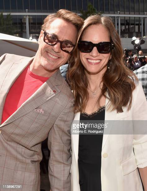 "Marvel Studios' ""Avengers: Endgame"" star Robert Downey Jr. And Susan Downey at the Hand And Footprint Ceremony at the TCL Chinese Theatre on April..."