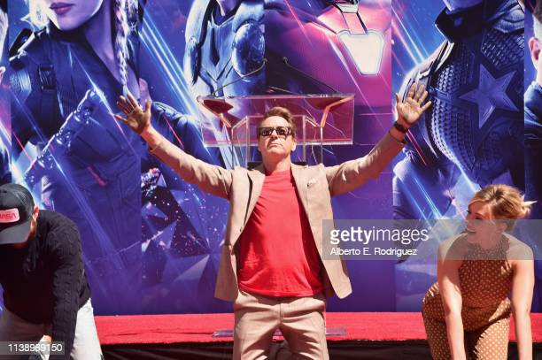 """Marvel Studios' """"Avengers: Endgame"""" stars Chris Evans, Robert Downey Jr. And Scarlett Johansson at the Hand And Footprint Ceremony at the TCL Chinese..."""