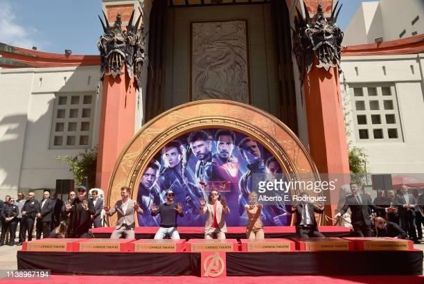 Marvel Studios' Avengers Endgame stars President of Marvel Studios/Producer Kevin Feige Chris Hemsworth Chris Evans Robert Downey Jr Scarlett...