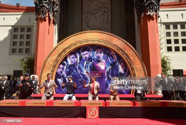 Marvel Studios' 'Avengers Endgame' stars President of Marvel Studios/Producer Kevin Feige Chris Hemsworth Chris Evans Robert Downey Jr Scarlett...