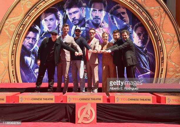 Marvel Studios' Avengers Endgame stars President of Marvel Studios/Producer Kevin Feige Chris Hemsworth Chris Evans Robert Downey Jr Scarlett...