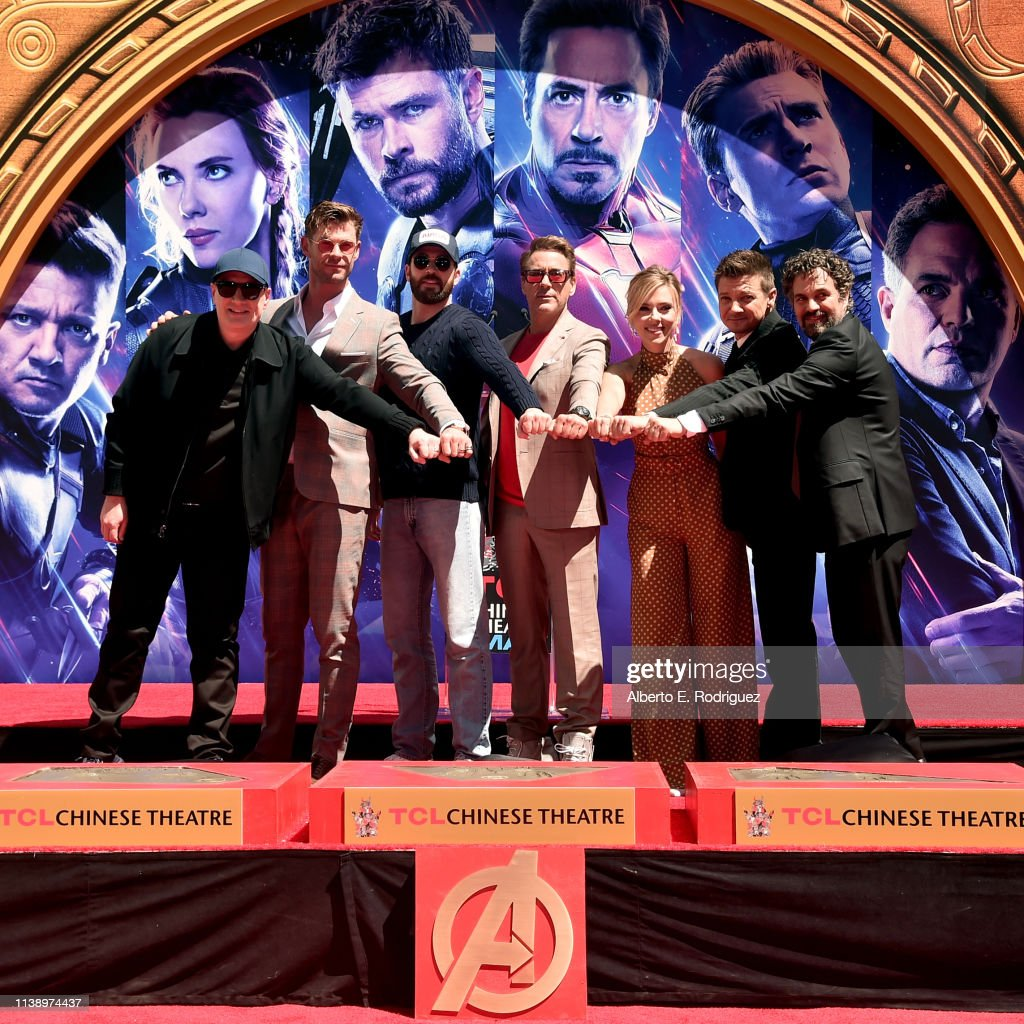 "Marvel Studios' ""Avengers: Endgame"" Stars Place Handprints In Cement At TCL Chinese Theatre : News Photo"