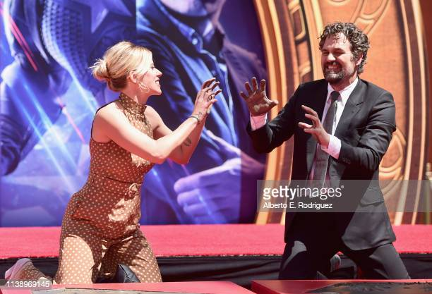 Marvel Studios' Avengers Endgame stars Scarlett Johansson and Mark Ruffalo at the Hand And Footprint Ceremony at the TCL Chinese Theatre on April 23...