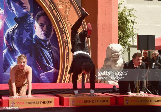 Marvel Studios' Avengers Endgame stars Scarlett Johansson Mark Ruffalo and Jeremy Renner at the Hand And Footprint Ceremony at the TCL Chinese...
