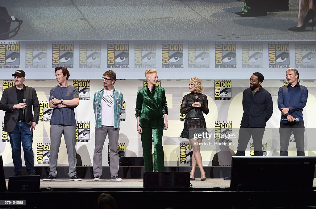 """Marvel Studios president and producer Kevin Feige, actor Benedict Cumberbatch, director Scott Derrickson, actors Tilda Swinton, Rachel McAdams, Chiwetel Ejiofor and Mads Mikkelsen from Marvel Studios' 'Doctor Strange"""" attend the San Diego Comic-Con International 2016 Marvel Panel in Hall H on July 23, 2016 in San Diego, California. ©Marvel Studios 2016"""