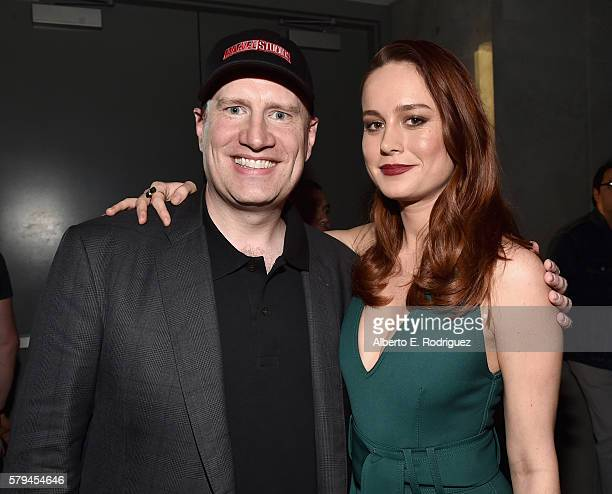 Marvel Studios president and producer Kevin Feige and actress Brie Larson announced as Captain Marvel/Carol Danvers attend the San Diego ComicCon...