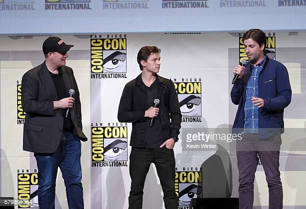 Marvel Studios President Kevin Feige actor Tom Holland and director Jon Watts attend the Marvel Studios presentation during ComicCon International...