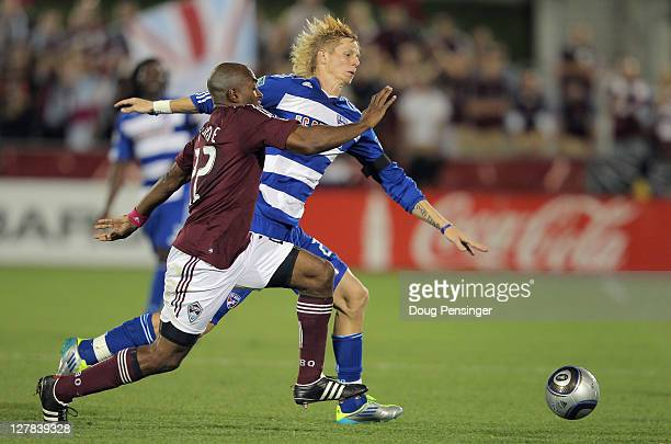 Marvell Wynne of the Colorado Rapids and Brek Shea of the FC Dallas battle for control of the ball at Dick's Sporting Goods Park on October 1 2011 in...