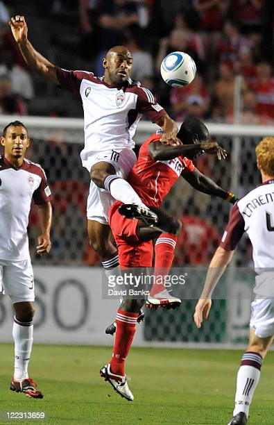 Marvell Wynne of the Colorado Rapids and Dominic Oduro of the Chicago fire fight for the ball in an MLS match on August 27 2011 at Toyota Park in...