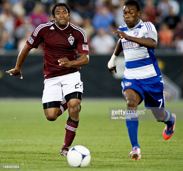 Marvell Wynne of the Colorado Rapids chases after Fabian Castillo of FC Dallas during a game at Dick's Sporting Goods Park July 14 2012 in Commerce...