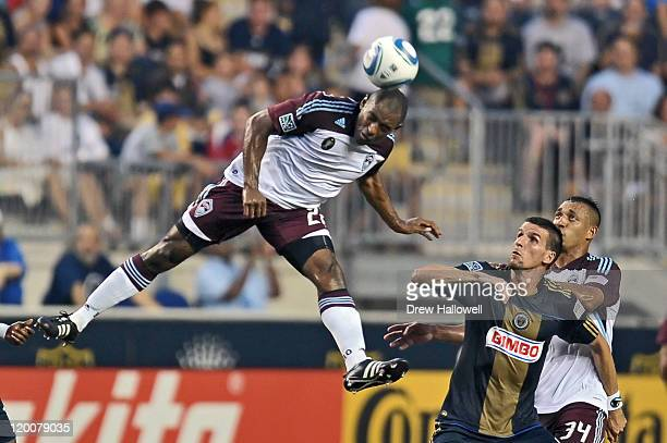 Marvell Wynne of the Colorado Rapids heads the ball during the game against the Philadelphia Union at PPL Park on July 29, 2011 in Chester,...