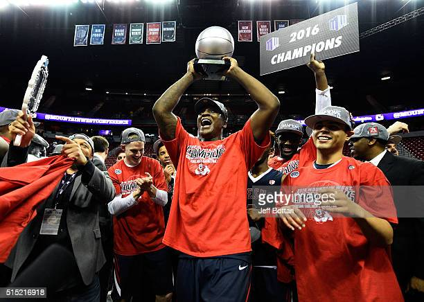 Marvelle Harris of the Fresno State Bulldogs celebrates after receiving the MVP trophy after defeating the San Diego State Aztecs 6863 to win the...