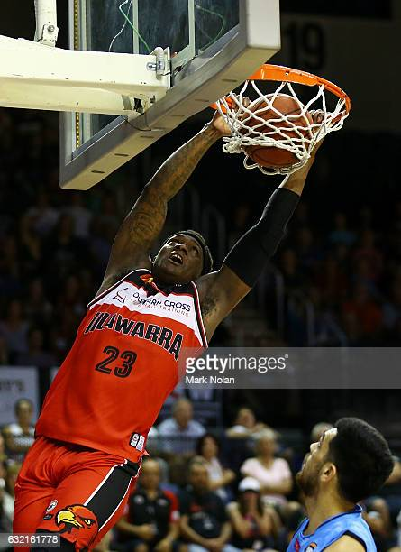 Marvelle Harris of the Hawks drives to the basket during the round 16 NBL match between the Illawarra Hawks and the New Zealand Breakers at the...