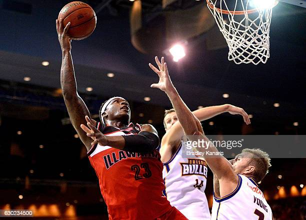 Marvelle Harris of the Hawks shoots for the basket during the round 11 NBL match between the Brisbane Bullets and Illawarra Hawks at the Brisbane...