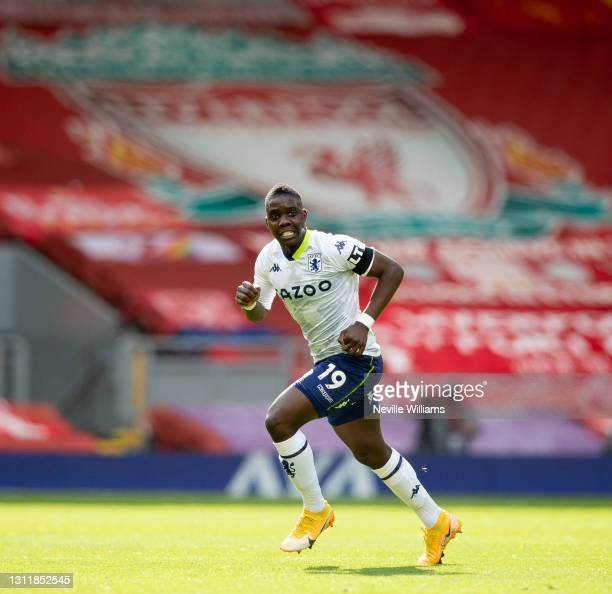Marvelous Nakamba of Aston in action during the Premier League match between Liverpool and Aston Villa at Anfield on April 10, 2021 in Liverpool,...