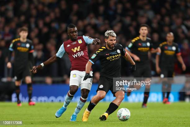 Marvelous Nakamba of Aston Villa and Sergio Aguero of Manchester City in action during the Carabao Cup Final match between Aston Villa and Manchester...