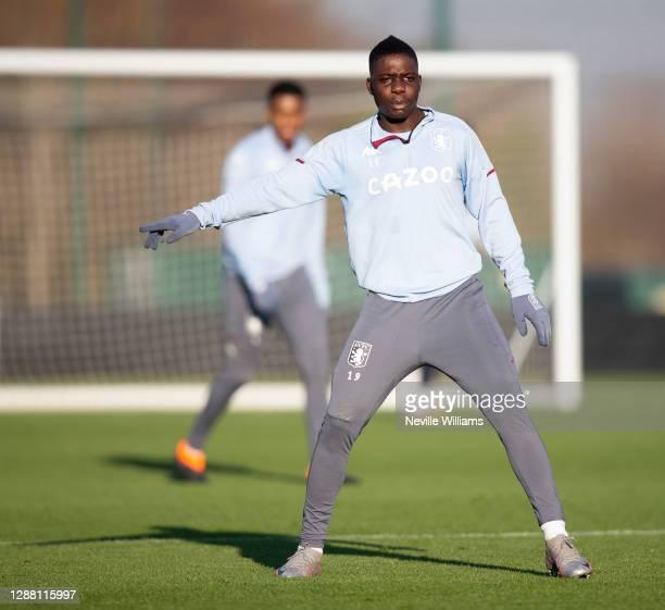 Marvelous Nakamba of Aston Villa in action during a training session at Bodymoor Heath training ground on November 26 2020 in Birmingham England