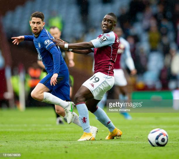 Marvelous Nakamba of Aston Villa in action during the Premier League match between Aston Villa and Chelsea at Villa Park on May 23, 2021 in...