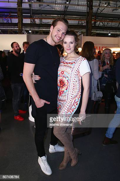 Marvin Albrecht and Anna Hofbauer attend the Breuninger show during Platform Fashion January 2016 at Areal Boehler on January 29 2016 in Duesseldorf...